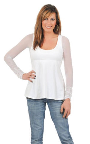 Sleevey Wonders White Shirred Long Sleeve Mesh