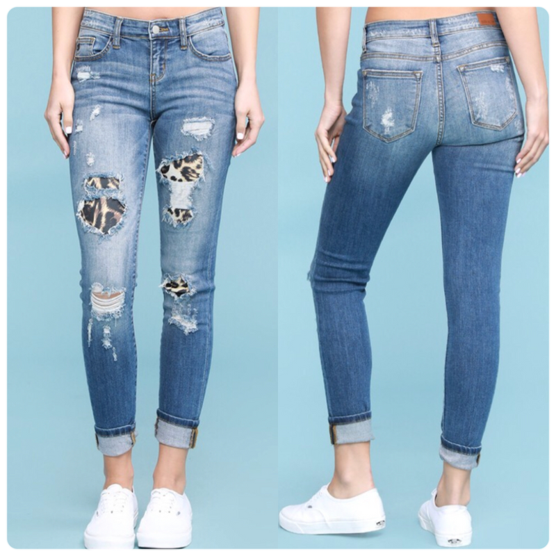 Judy Blue Leopard Patch Jean Plus Size