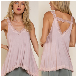 Lace Trim Halter Top