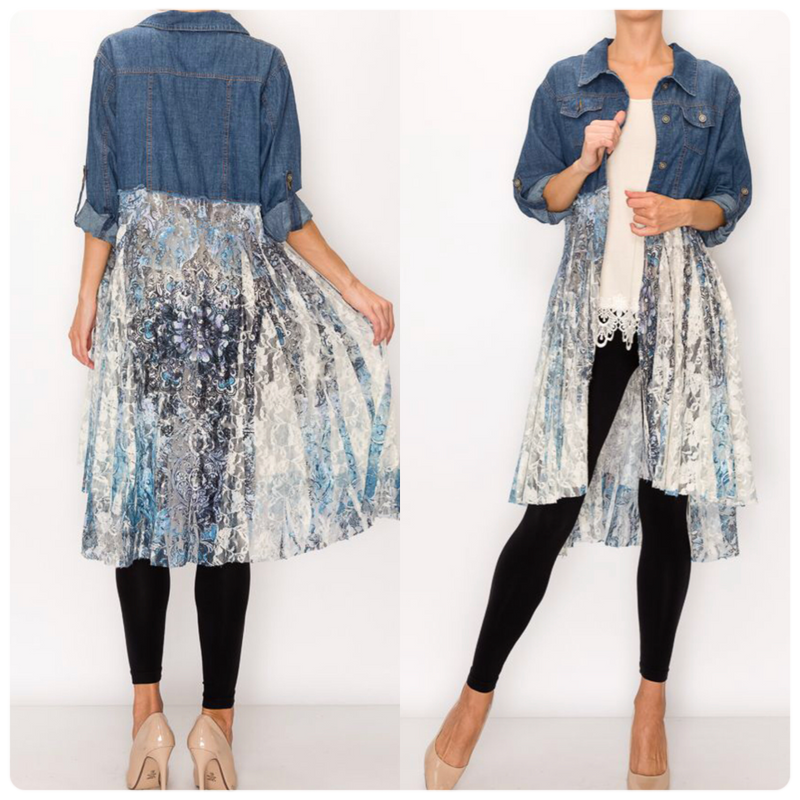 Denim Button up with Lace Layer