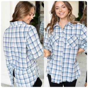 Long Sleeve Plaid Woven Top with Distressed Hem