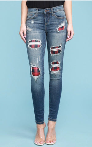 Judy Blue Plaid Patch Destroy Skinny Jeans