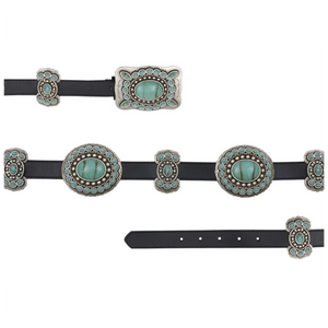 "1"" Black w/Butterfly Oval Conchos Belt"
