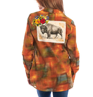 Women's Plaid Buffalo Patch Embroidered Shirt