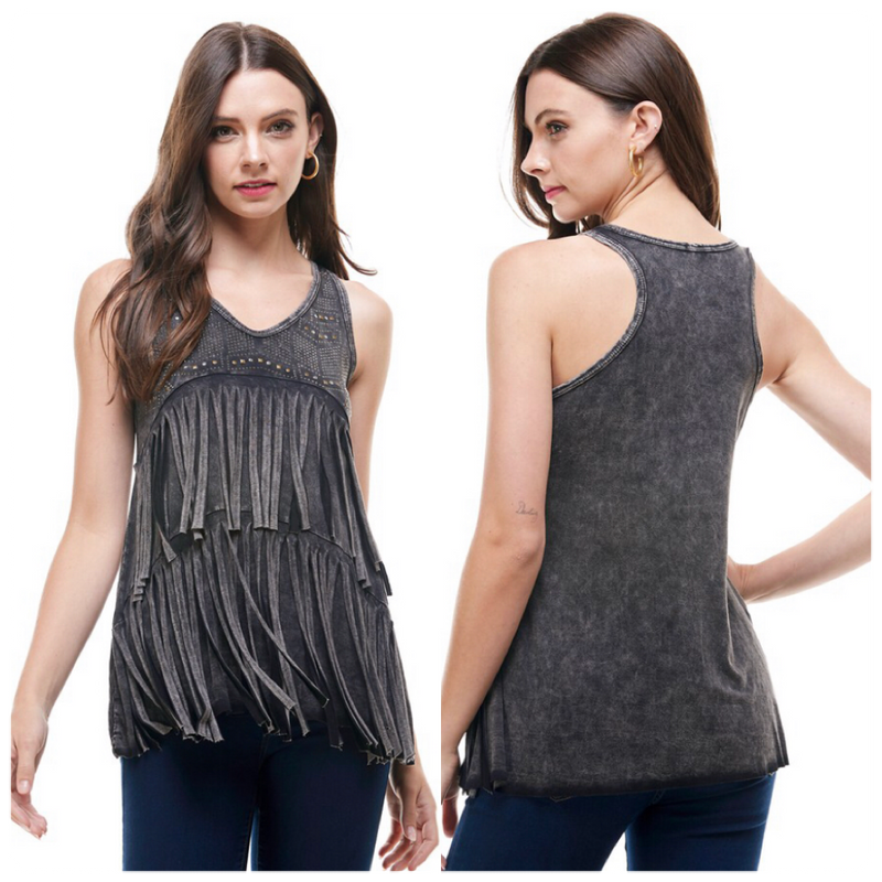 Black Fringe Studded Sleeveless Top