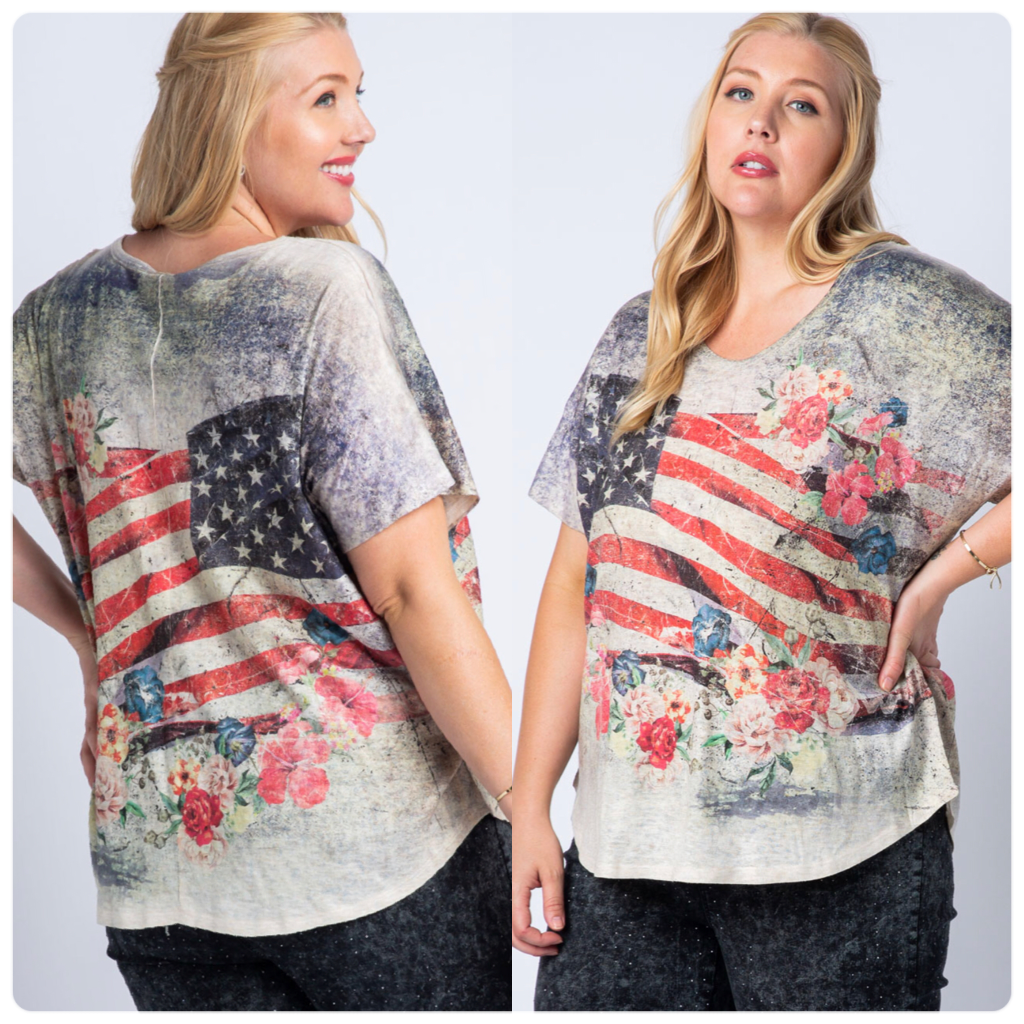 Vocal Flag 'n Flower Plus Size Top
