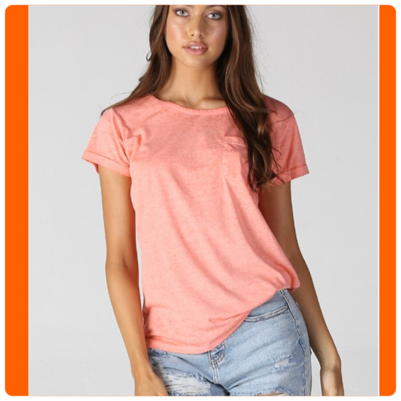 Burnout Pocket Tee Coral