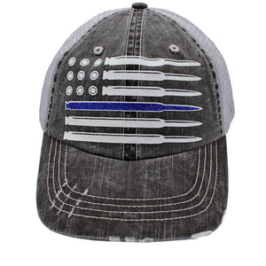 USA Flag Blue Line Bullit Ball Cap