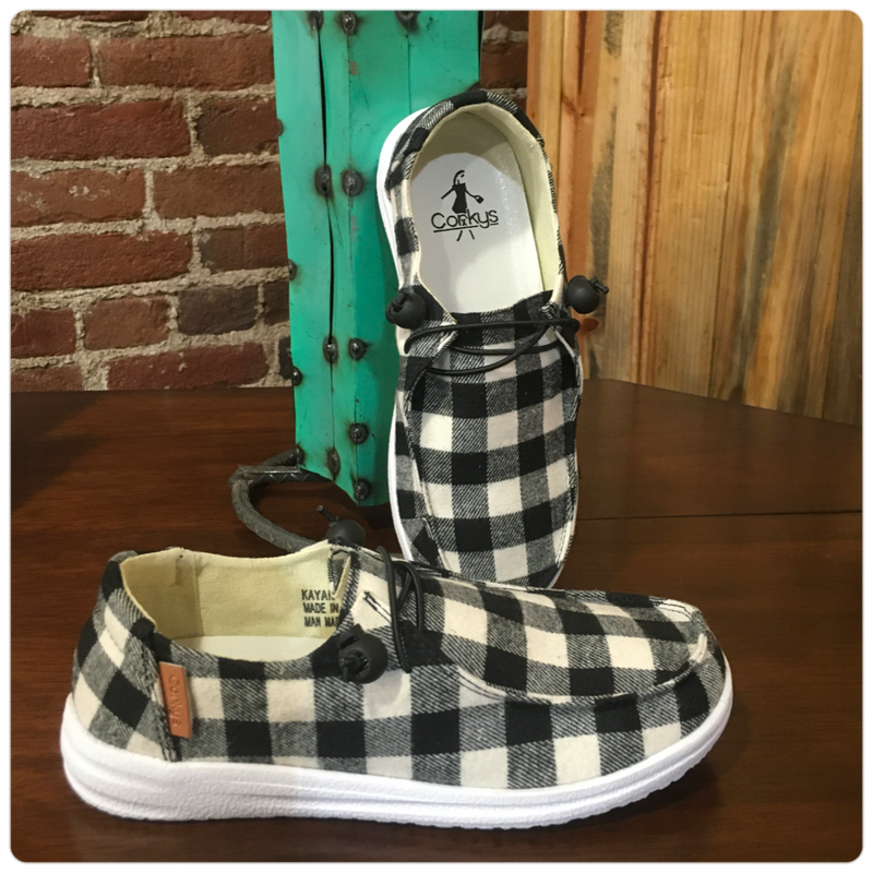 Women's Kayak Slip On Canvas White Plaid Shoe