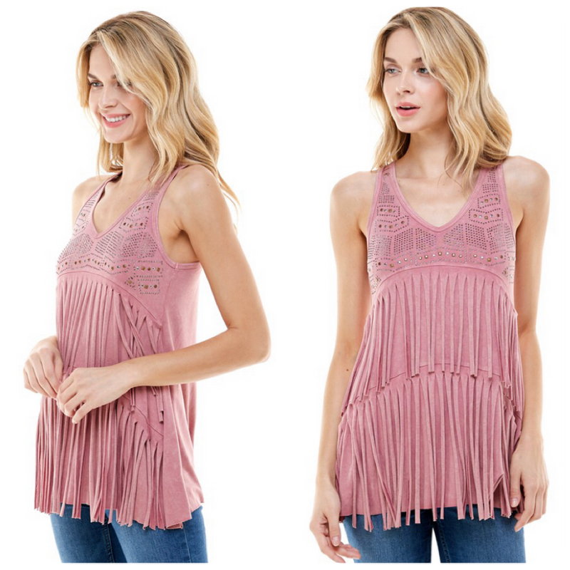 Dusty Rose Fringe Studded Sleeveless Top