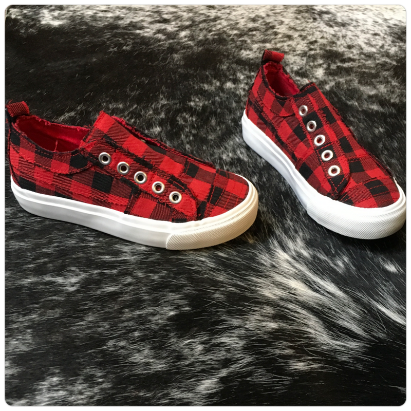 Kids Babalu Red Buffalo Plaid Slip on Sneaker