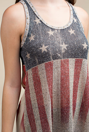 Vocal US Flag Tank Top with Stones