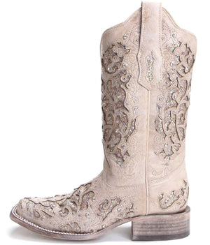 Corral Ladies White Glitter Inlay & Crystals Square Toe