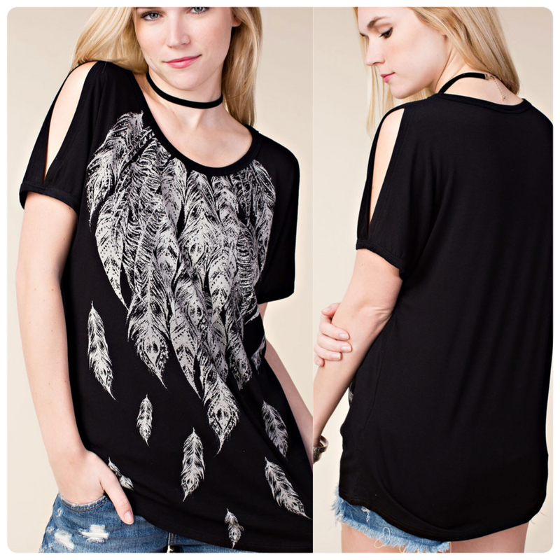 Vocal Feather Cold Shoulder Top