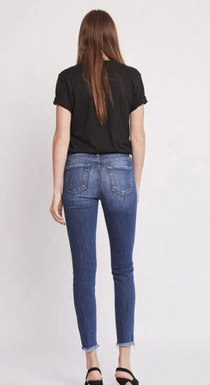 Flying Monkey High Rise Frey Hem Crop Skinny
