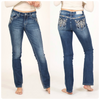 Grace in LA Easy Fit Tribal Embroidered Bootcut
