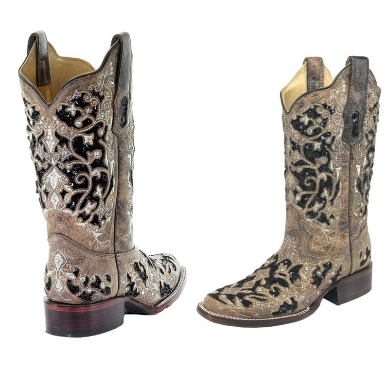 Corral Floral Embroidered Sequin Inlay Suare Toe Boot