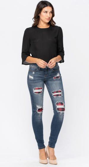 Judy Blue Plaid Patch Jean Plus Size