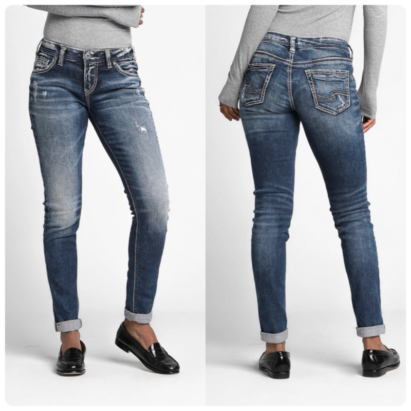 Silver Girlfriend Mid Rise Skinny Jean
