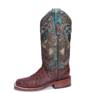 Corral Turquoise Full Quill Ostrich Boots