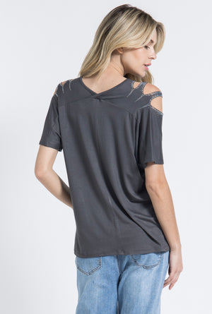 Vocal Short Sleeve Top w/Stone Design