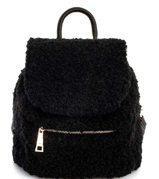 CUTE CURLY FUR MODERN BACKPACK