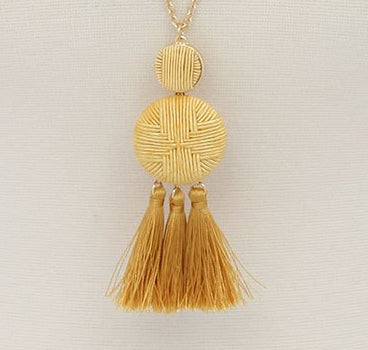Double Circle tassel pendant necklace