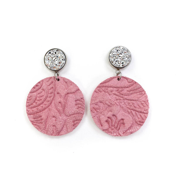 Pink Embossed Dangle Leather earrings
