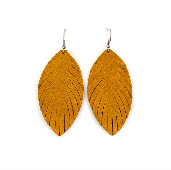 Mustard Yellow Feather fringe Leather earrings