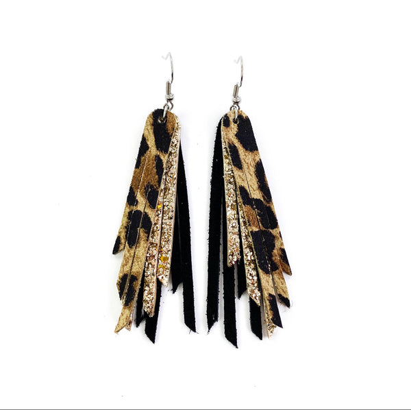Leopard Fringe Leather earrings