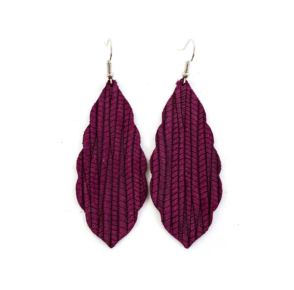 Burgundy Palm Leather earrings