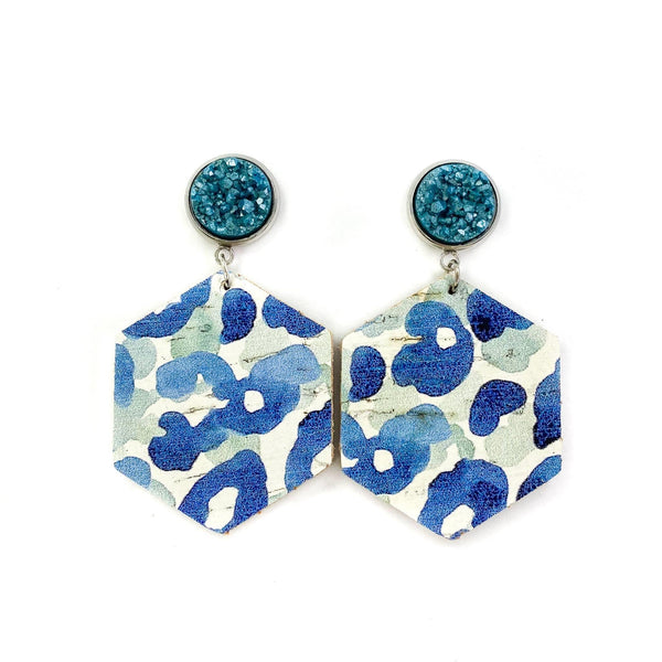Watercolor Leopard Druzy Danglers