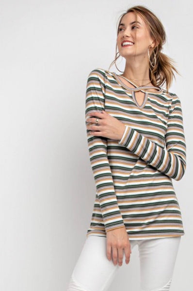 Multi Stripe Long Sleeved top