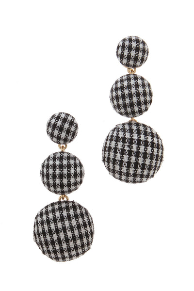 CHECKERED PATTERN POST DROP EARRING