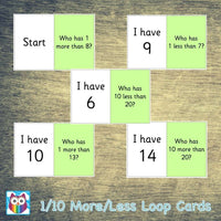1/10 More and Less Loop Cards:Primary Classroom Resources