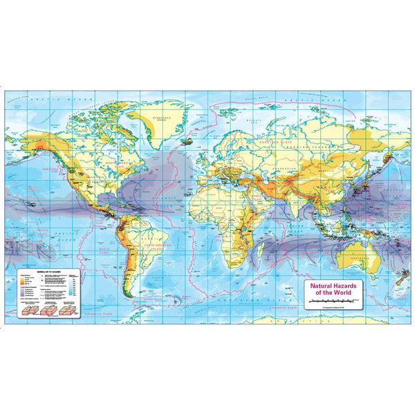 Natural Hazards of the World Map - Colour Blind Friendly:Primary Classroom Resources