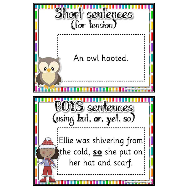 30 Sentence Type Cards:Primary Classroom Resources