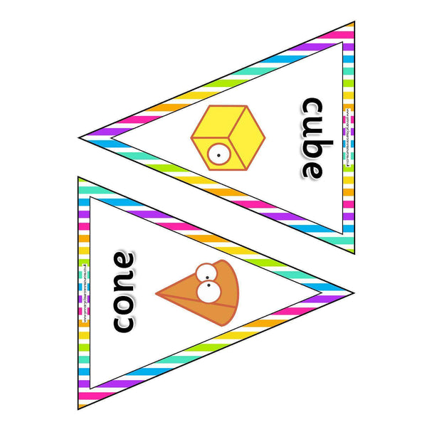 3D Shapes Bunting:Primary Classroom Resources