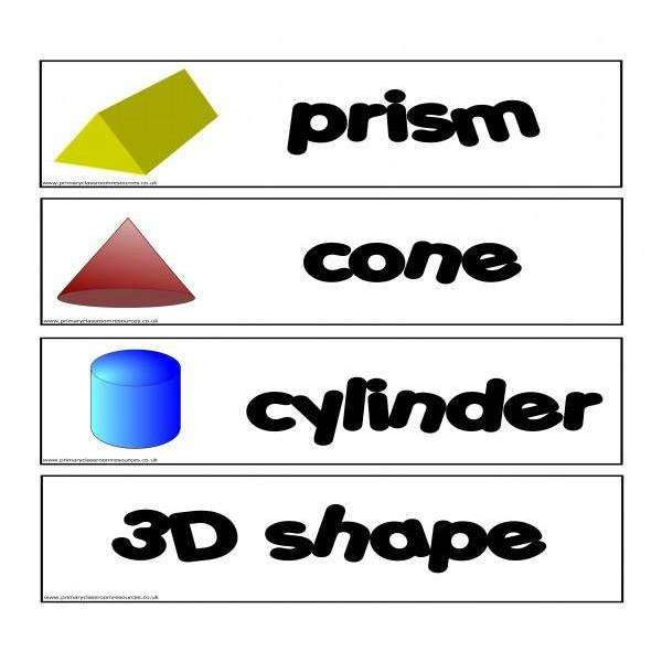 3D Shapes Flashcards:Primary Classroom Resources