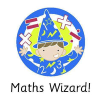 4cm Square Marking Stickers - Maths Wizard!