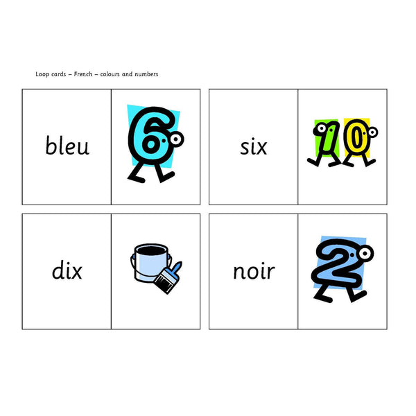 French Colours and Numbers Loop Cards