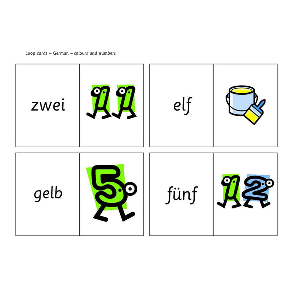 German Colours and Numbers Loop Cards:Primary Classroom Resources
