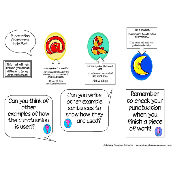 Punctuation Character Mat:Primary Classroom Resources