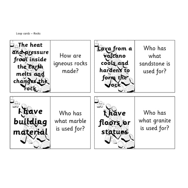 Rocks Loop Cards:Primary Classroom Resources