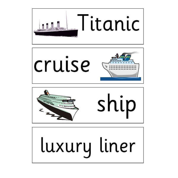 Titanic Flashcards:Primary Classroom Resources