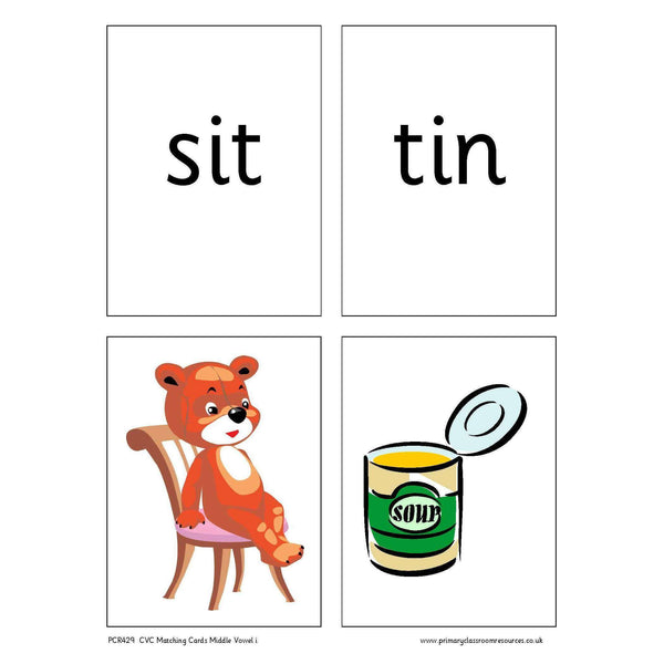 CVC Words Matching Cards - Middle Vowel i:Primary Classroom Resources