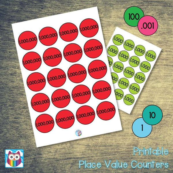 Printable Place Value Counters:Primary Classroom Resources