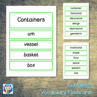 Containers Vocabulary:Primary Classroom Resources