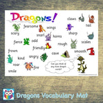 Dragons Vocabulary Mat:Primary Classroom Resources,Digital download