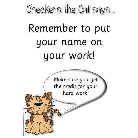 A3 Laminated - Checkers the Cat Says Check Your Work!:Primary Classroom Resources